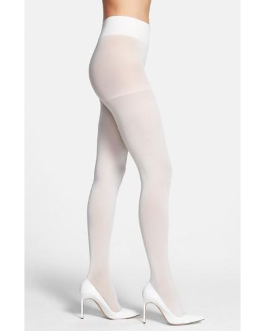 DKNY - White Opaque Control Top Tights - Lyst