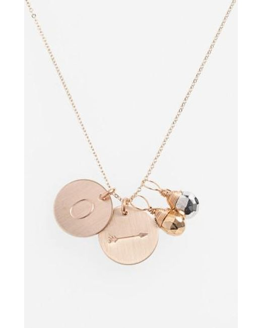 Nashelle | Metallic Pyrite Initial & Arrow 14k-gold Fill Disc Necklace | Lyst