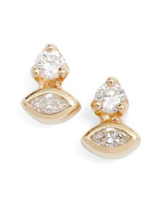 Zoe Chicco | Metallic Diamond Cluster Stud Earrings | Lyst