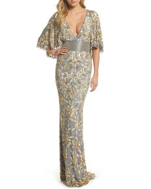 Lyst - Mac Duggal Sequin & Bead Embellished Gown in Metallic