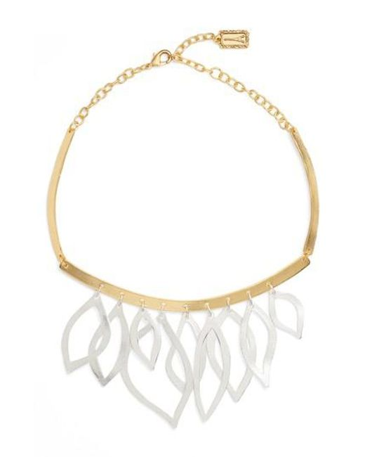 Karine Sultan | Metallic Two-tone Frontal Necklace | Lyst