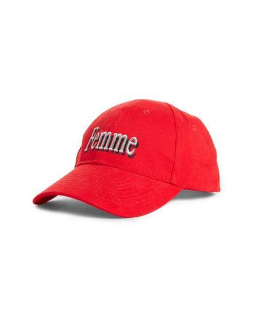 ae2660c1094 Lyst - Balenciaga Femme Logo Baseball Hat in Red