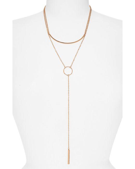 Panacea - Metallic Bar Circle Layered Y-necklace - Lyst