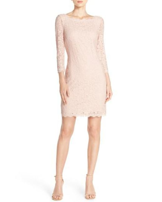 Adrianna Papell | Pink Long Sleeve Lace Sheath Dress | Lyst