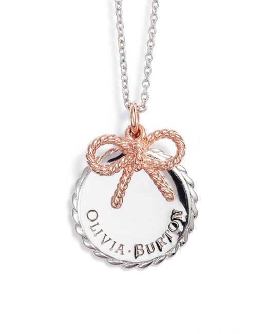 Olivia Burton - Metallic Coin & Bow Pendant Necklace - Lyst
