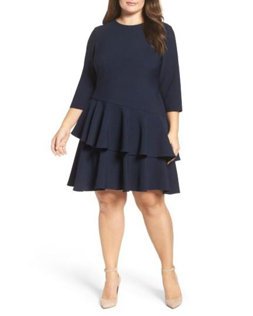 Eliza J | Blue Ruffle Tiered Shift Dress | Lyst