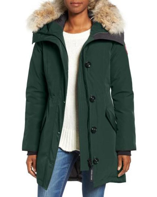 Canada Goose | Green Rossclair Genuine Coyote Fur Trim Down Parka | Lyst