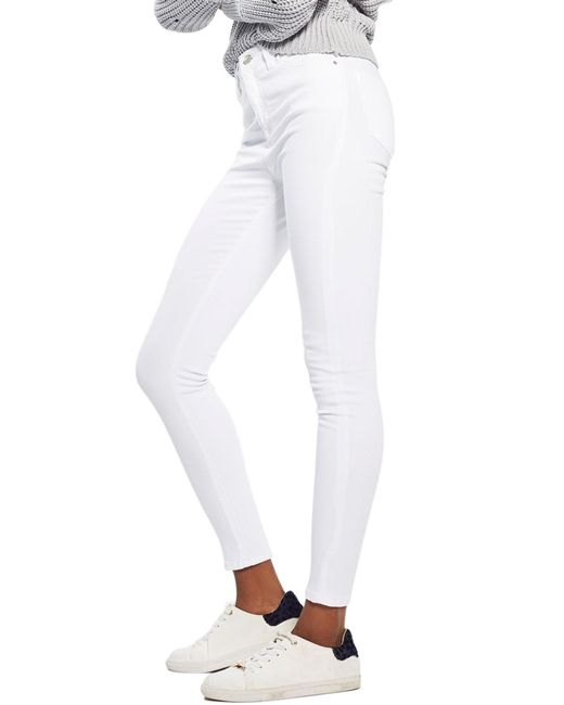 TOPSHOP - White Jamie High Waist Ankle Skinny Jeans - Lyst