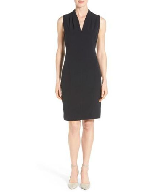 T Tahari - Black 'tonya' V-neck Sheath Dress - Lyst