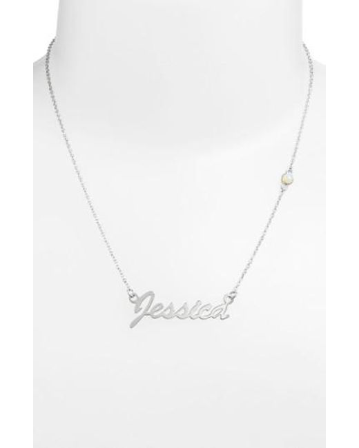 Argento Vivo - White Birthstone & Personalized Nameplate Pendant Necklace (nordstrom Online Exclusive) - Lyst