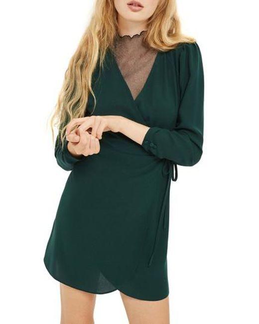 TOPSHOP - Green Crepe Wrap Minidress - Lyst