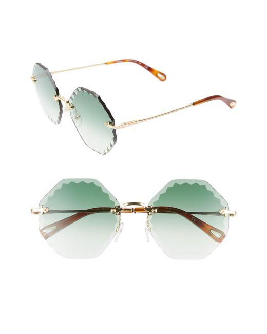 2922ef1aea83 Chloé - Green Chloé Rosie 58mm Gradient Octagonal Rimless Sunglasses - Lyst  ...
