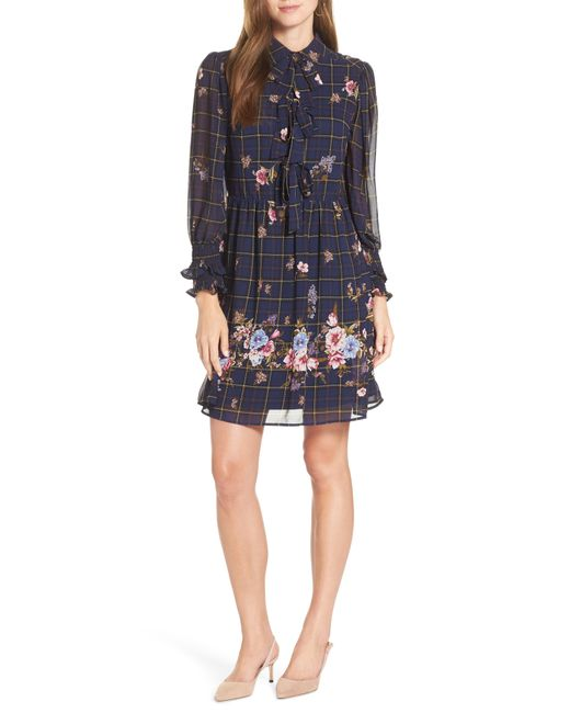 Nordstrom - Blue 1901 Three-bow Long Sleeve Dress - Lyst
