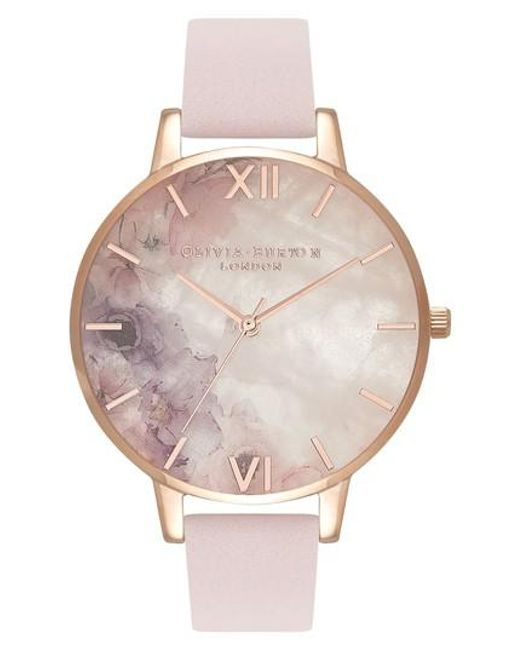 Olivia Burton - Pink Leather Strap Watch - Lyst