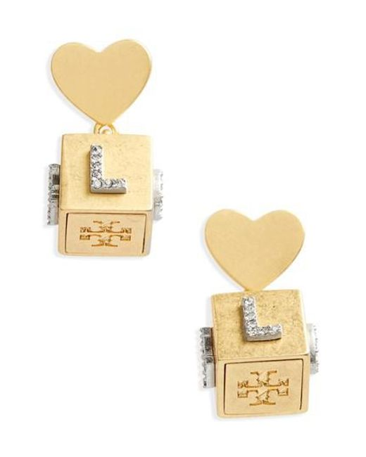 Tory Burch - Metallic Love Message Cube Earrings - Lyst