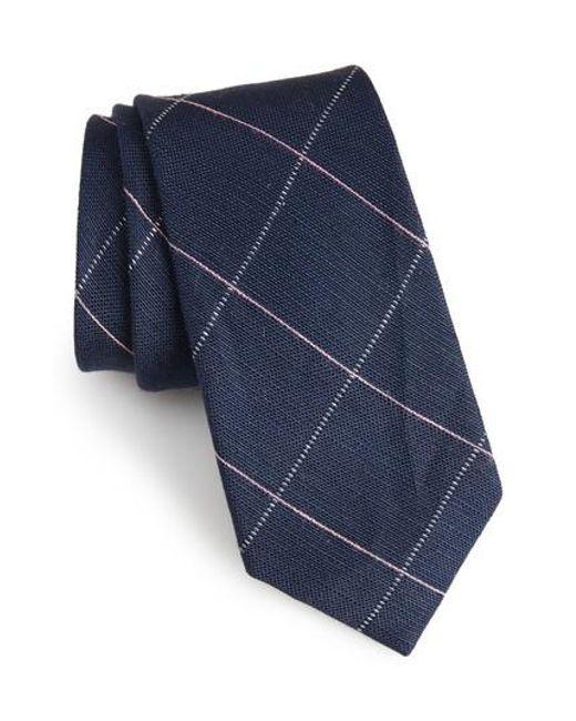 Calibrate   Blue Candler Grid Linen & Silk Tie for Men   Lyst
