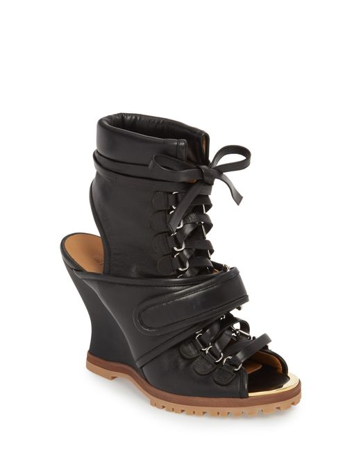 Chloé - Black River Leather Wedge Sandals - Lyst