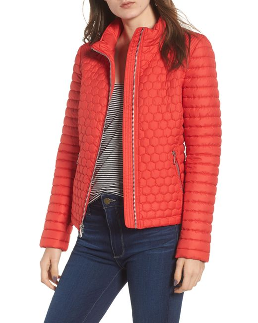 Andrew Marc - Red Honeycomb Quilted Moto Jacket - Lyst