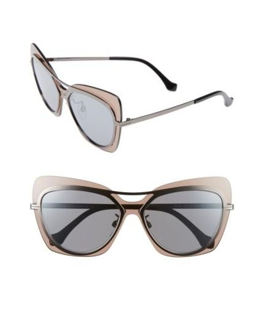 Balenciaga | Metallic 57mm Layered Butterfly Sunglasses - Gunmetal/ Black/ Silver/ Brown | Lyst