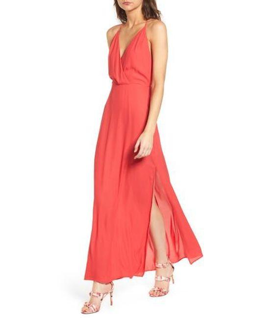 Lush - Red Surplice Maxi Dress - Lyst