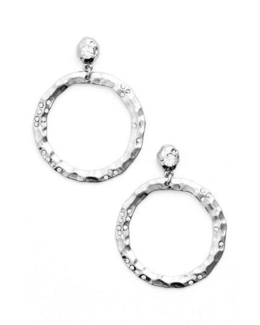 Karine Sultan | Metallic Jewely Cubic Zirconia Frontal Hoop Earrings | Lyst