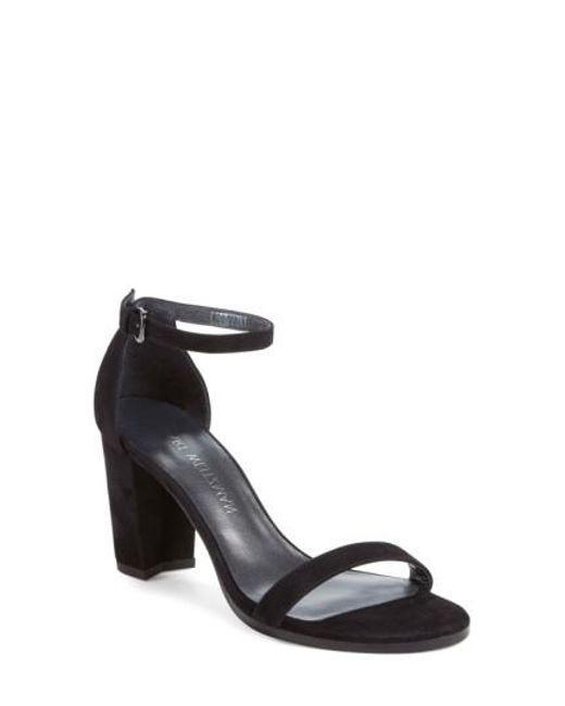 Stuart Weitzman | Black 'nearlynude' Ankle Strap Sandal | Lyst