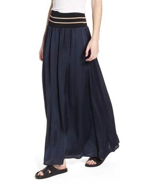 Scotch & Soda - Blue Stripe Waist Maxi Skirt - Lyst