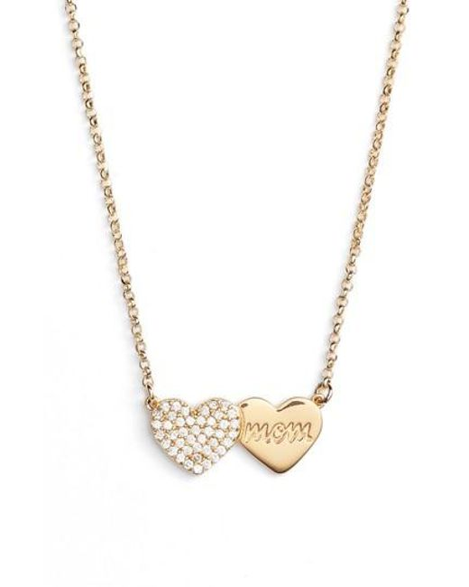Kate Spade - Metallic Mom Knows Best Pave Heart Necklace - Lyst