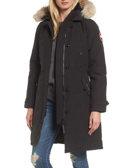 Canada Goose | Black 'kensington' Slim Fit Down Parka With Genuine Coyote Fur Trim | Lyst