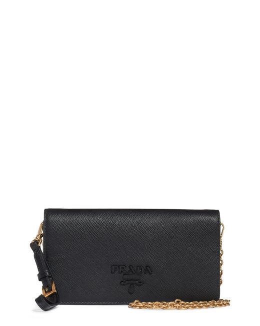 dd6f1b1b73e5 Prada - Black Mini Monochrome Wallet On A Chain - Lyst ...