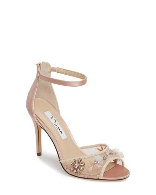 Nina Clarity Satin Embellishment Ankle Strap Dress Sandals z6QX2f4
