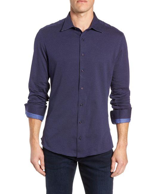Stone Rose - Blue Trim Fit Bird's Eye Sport Shirt for Men - Lyst