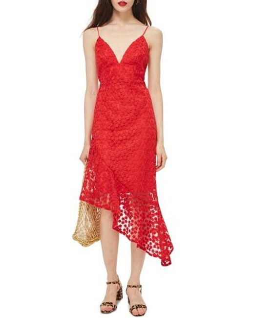 TOPSHOP - Red Lace Plunge Asymmetrical Dress - Lyst