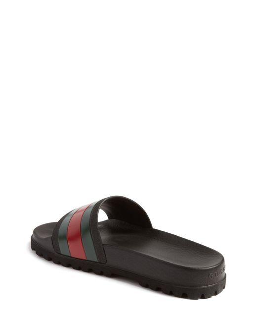 e9c61f9481e6 Lyst - Gucci Striped Rubber Slides in Black for Men - Save 24%