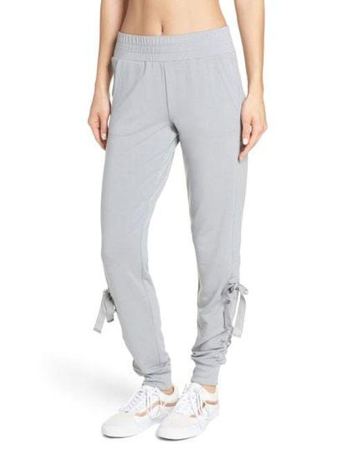 Zella - Gray Gathered Jogger Pants - Lyst