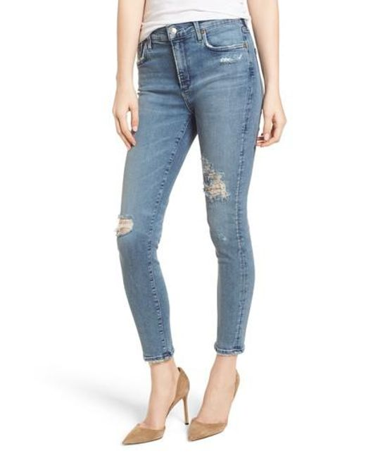 Agolde - Blue Sophie Ripped High Waist Crop Skinny Jeans - Lyst