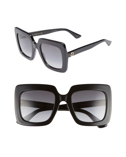 Gucci - Black 53mm Square Sunglasses - Lyst