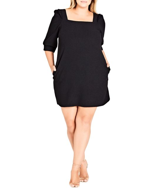 City Chic Black Darling Square Neck Dress