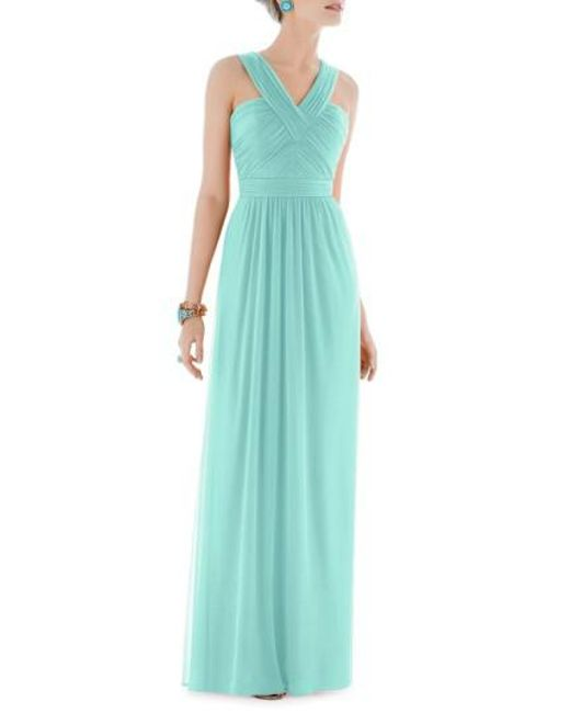 Alfred Sung - Blue Shirred Chiffon V-neck Gown - Lyst