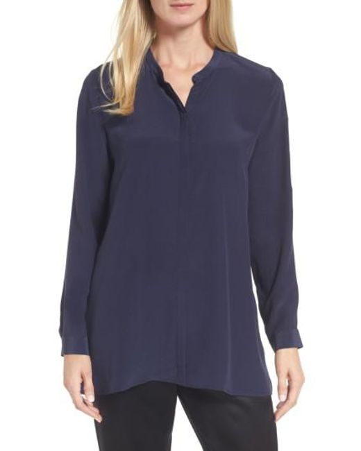 Eileen Fisher | Blue Silk Shirt | Lyst