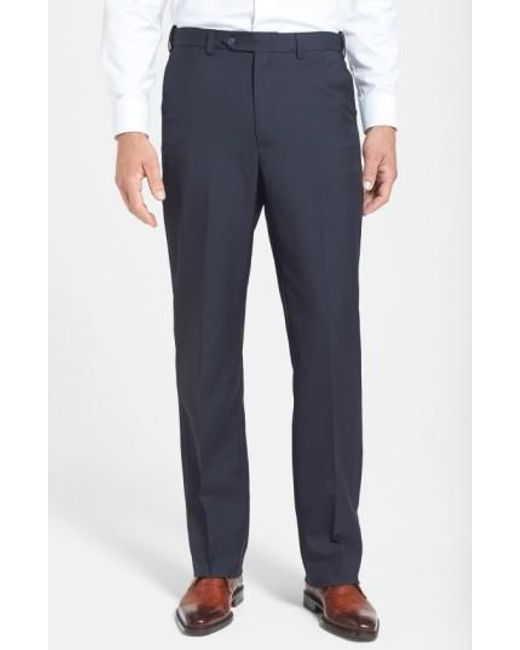 Berle - Blue Self Sizer Waist Tropical Weight Flat Front Trousers for Men - Lyst