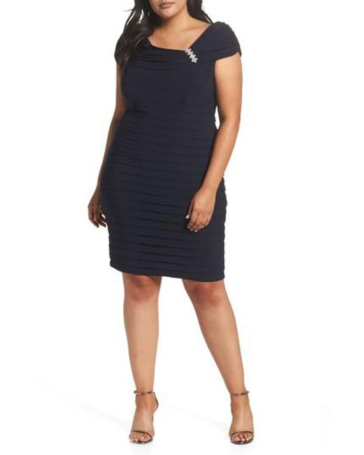 Xscape - Blue Embellished Portrait Collar Shutter Pleat Cocktail Sheath Dress - Lyst