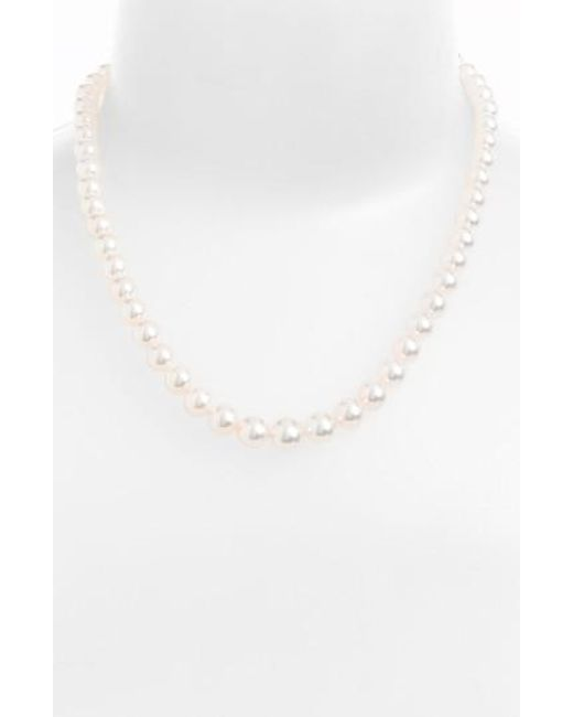 Mikimoto - White Graduated Pearl Necklace - Lyst