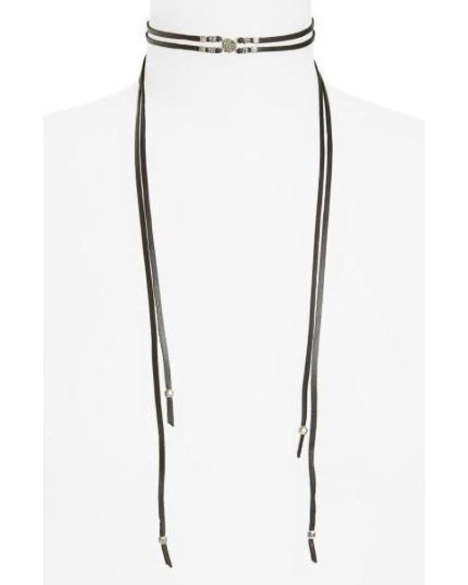 Chan Luu | Metallic Double Strand Leather Wrap Necklace | Lyst