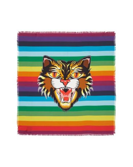 Gucci - Green Crazy Tiger Square Silk Scarf - Lyst
