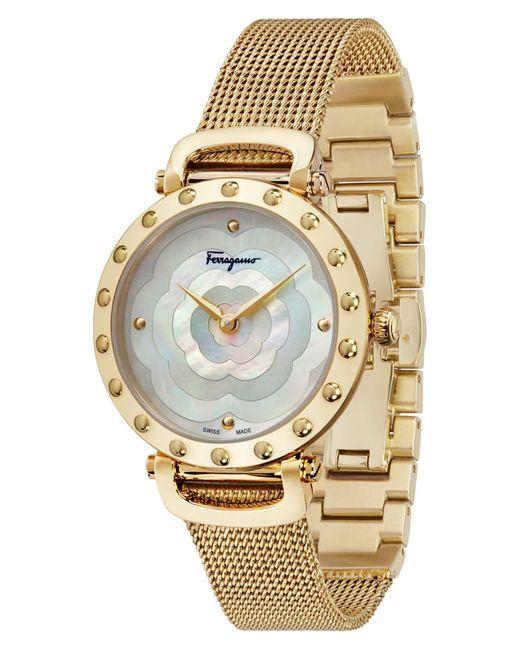 Ferragamo Metallic Style Bracelet Watch