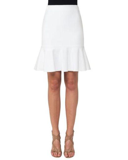Akris Punto | White Jersey Flounce Hem Skirt | Lyst