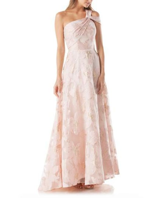 Lyst - Carmen Marc Valvo Floral One-shoulder Ballgown in Pink