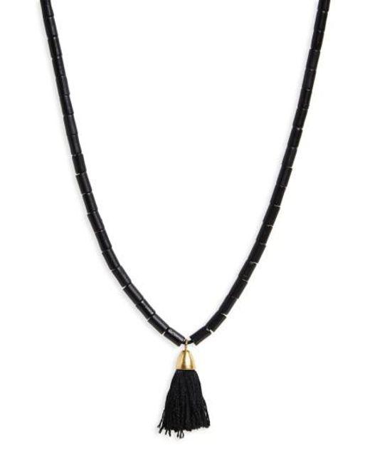 Madewell | Black Adjustable Bead Tassel Necklace | Lyst