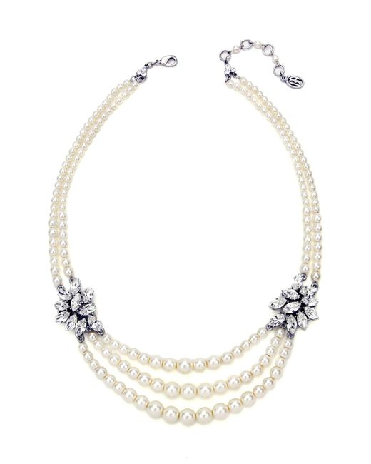 Ben-Amun - Metallic Faux Pearl & Crystal Multistrand Necklace - Lyst